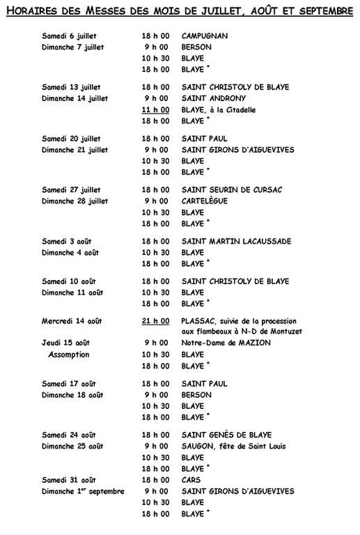 Horaires des Messes Juillet Août Septembre (page 1)
